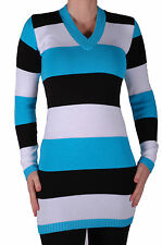 Womens Casual Cotton Striped Knit V Neck Long Sleeve Pullover Jumper Sweater