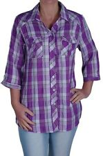 Womens Checkered Casual 3/4 Sleeve Collared Plus Size Hip Length Blouse Shirt