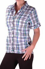 Womens Short Sleeve Flat Collar Polyester Checkered Smart Shirt Blouse Tops