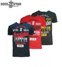 SOUL STAR MENS KNOXVILLE T-SHIRT TOP (3 - COLOURS) RRP £19.99 SAVE 55% OFF