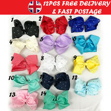 12pcs Large Hair Bow 8 Inch Rhinestone Bows girls accessories Alligator Clips Uk