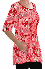 Eliana Ladies Print Blouse Scoop Neck Tunic Womens Swing Flared T-Shirt Top