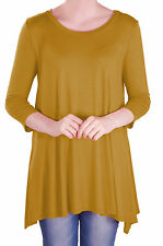Womens Round Neck Flared Ladies 3/4 Sleeve Tunic T Shirts Tops Blouse