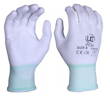 PU Palm Coated Precision Protective Safety Work Gloves - Multi Purpose WHITE