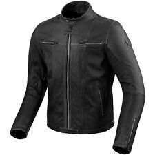 REV'IT! Roswell PELLE NERA CLASSICO VINTAGE MOTO GIACCA REV IT REVIT