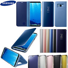 New Samsung Galaxy Clear View Mirror Leather Wallet Flip Standing Case Cover