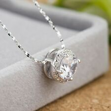 Sterling Silver Jewellery with Cubic Zirconia Solitaire Pendant/Necklace & Chain