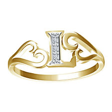 """Attractive 925 Sterling Silver Natural Diamond """"L"""" Shape Ring W/ 14K Gold Plated"""
