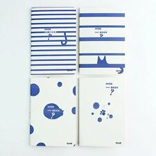 Cute Kitten Cats Playing Hide And Seek In Blue Stripes Dots A5 Lined Notebooks