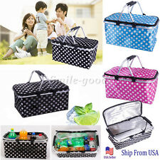 Basket Lunch Picnic Food Folding Insulated Cooler Tupperware Camping Bag Box