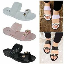 Ladies Womens Jelly Diamante Slider Mules Holiday Summer Sandals Beach Shoes