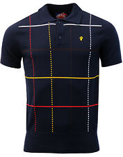 MENS WIGAN CASINO / NORTHERN SOUL SLIM FIT CHECKED KNIT POLO WC 2054 - NAVY BLUE