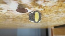 genuine leather and Baltic amber adjustable ring