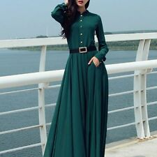 Women Slim Long Sleeve Evening Formal Party Cocktail Prom Gown Long Maxi Dress