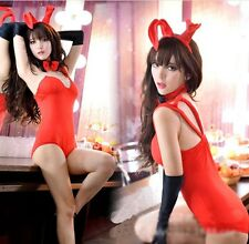 Hot Sexy Red Bunny Girl Lingerie Roleplay Teddies Cosplay Costume Babydoll Dress
