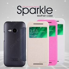 Nillkin Sparkle Leather Flip Stand Hard Bumper Back Case Cover HTC One M8 Mini 2