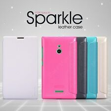 Nillkin Sparkle Leather Flip Stand Hard Bumper Back Case Cover For Nokia XL