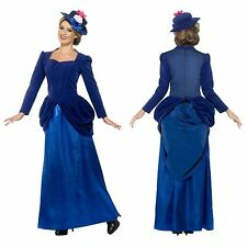 Ladies Deluxe Blue Victorian Vixen Magical Nanny Mary Maid Fancy Dress Costume