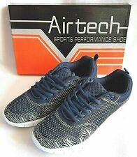 Mens Air Tech Navy/Grey Textile Lace Up Lightweight Trainers  9 10 11  £20