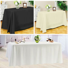 White Rectangle Tablecloth Polyester Table Cloth Cover Banquet Wedding Party