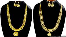 "Gold Plated Necklace Earrings Bell sets 14"" Bollywood Bridal Designer Jewellery"