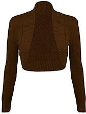 WOMEN'S LONG SLEEVE KNITTED LADIES FRONT OPEN STRETCH BOLERO CROPPED SHRUGS TOP