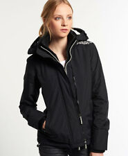 Neue Damen Superdry Pop Zip Hooded Arctic Windcheater-Jacke Black