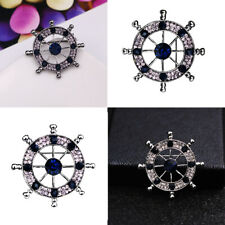 Men's Sparkle Crystal Ship's Steering Wheel Helm Pin Brooch Party Ornaments