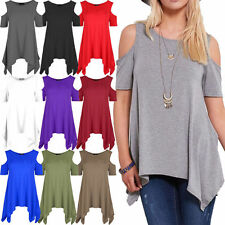 Womens Ladies Cold Shoulder Oversized Lot Baggy Hanky Hem Flared Top Plus Size