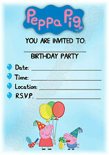 A5 KIDS CHILDRENS PARTY INVITATIONS X 12 - PEPPA PIG BALLOON INVITES