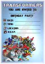 A5 CHILDRENS KIDS PARTY INVITATIONS X 12 - TRANSFORMERS INVITES