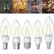 E27 E14 E12 B22 B15 2W Sliver Filament Incandescent Candle Light Bulb Lamp Non-D
