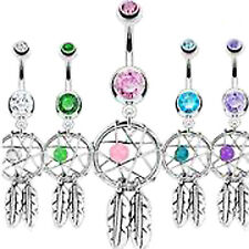 DREAMCATCHER BELLY BAR Crystal Gemstone Dangle Dream Catcher CZ Steel Navel Gem