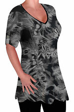 Denver Womens Print V Neck Blouse Tunic Ladies Swing Flared T-Shirt Top