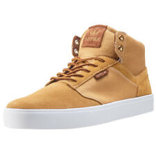 Supra Yorek Hi Mens Brown Suede & Canvas Casual Trainers Lace-up New Style
