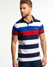 Superdry Hombre Polo a rayas Duo Hoop Stripe Rigging Navy
