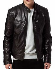 WINTER MEN'S LEATHER JACKET 100% PURE BROWN LEATHER JACKET GV015