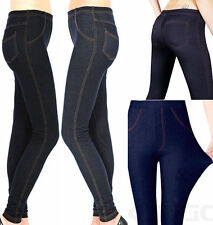 Ladies Womens Stretchy Denim Look Skinny Jeggings Leggings Plus Size UK 8-26