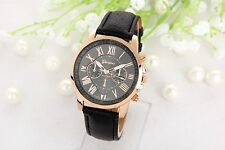 Mens Womens Watches Leather Stainless Steel Quartz Analogue Wrist Watch