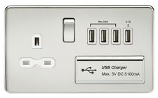 Knightsbridge Screwless 1G 13A Switched Socket with USB Charger - White Insert