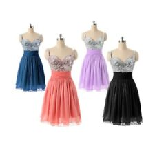 Kurz Chiffon Pailetten Abendkleid Ballkleid Party Cocktail Abschluss Gr 32-46