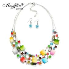 Jewelry Sets Bohemian Crystal Beads Multi layer Statement Necklace Earrings Set