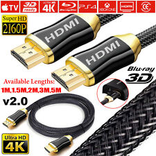 PREMIUM Braided HDMI Cable v2.0 HD High Speed 4K 2160p 3D Video Lead 1m 2m 3m 5m