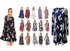 Womens Floral Print A-Line Swing Dress Ladies Long Sleeve Flared Skater Top