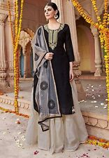 Shanaya Black Straight Silk Designer Kurti / Kurta with Dupatta