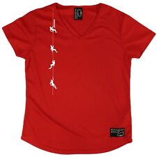 Adrenaline Addict - Climbers on Rope - Dry Fit Breathable Sports V- NECK T-SHIRT