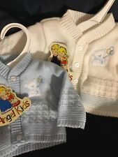 Premature Baby Boys Cardigan Prem Tiny 3-5lbs 5-8lbs White or Blue With Bear