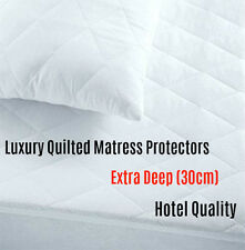 """Extra Deep 12"""" Luxury Quilted Mattress Protector Microfibre Bed Cover  ALL SIZES"""