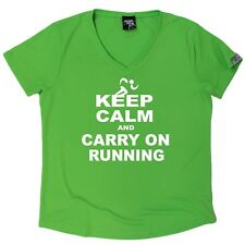 Personal Best - Keep Calm And Run - Dry Fit Breathable Sports V- NECK T-SHIRT