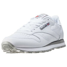 Reebok Classic Leather Mens White Leather Casual Trainers Lace-up New Style